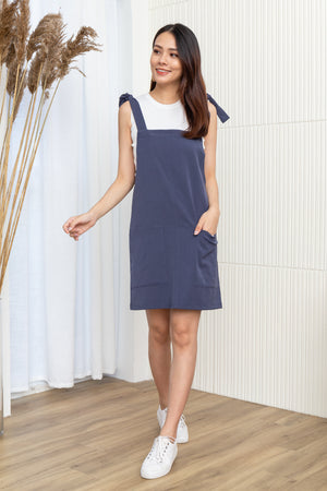 Alexy Tie Shoulder Dress In Blue