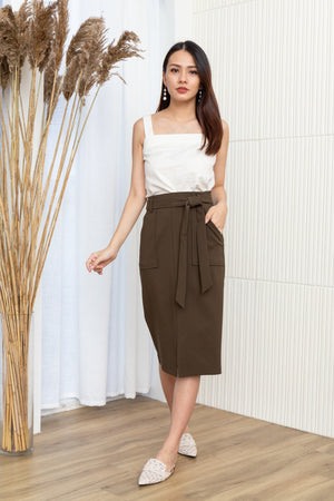 Lizbeth Tie Front Pencil Skirt In Olive