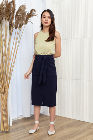 Lizbeth Tie Front Pencil Skirt In Navy