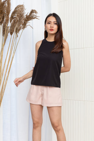 Issey Round Neck Top In Black