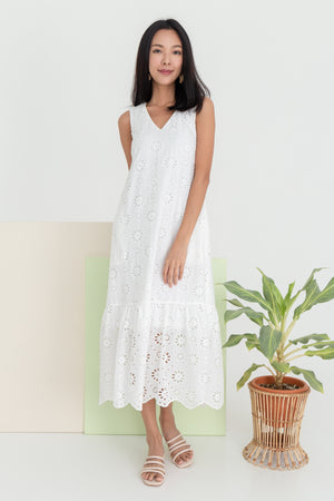 Violet Eyelet Drophem Midi In White