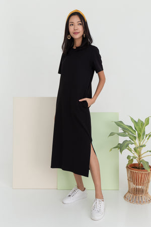 Albey Cotton Midi Dress In Black