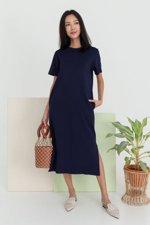 Albey Cotton Midi Dress In Navy