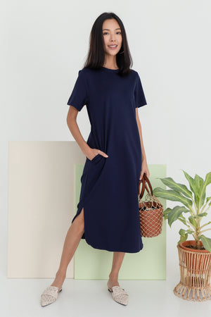 *RESTOCK* Albey Cotton Midi Dress In Navy (XS)