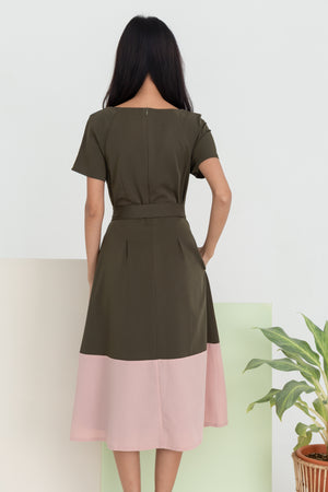 Amelia Colourblock Midi Dress In Olive