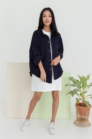 Harleen Boyfriend Jacket In Navy