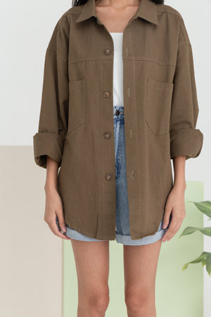 Harleen Boyfriend Jacket In Olive