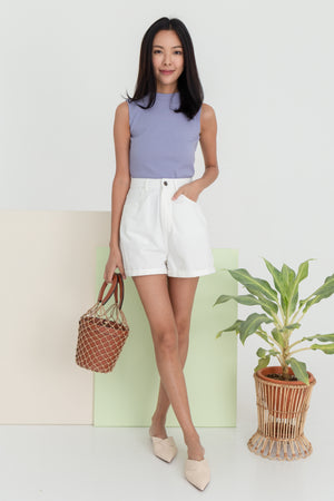 Yula Sleeveless Ribbed Top In Lilac