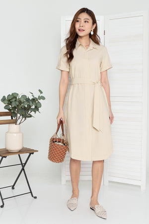 *TSA Label* Lowee Utility Shirt Dress In Nude
