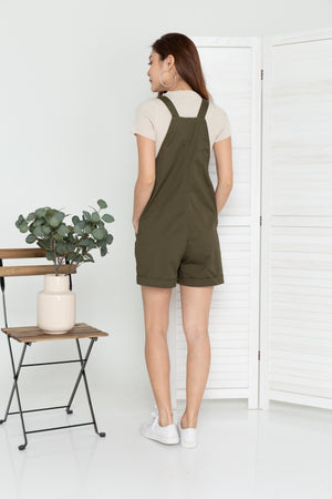 Barry Pinafore Dungaree In Olive