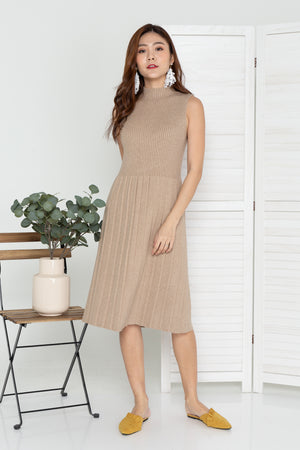 Fayra Knit Midi Dress In Oat