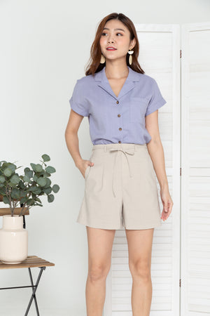Vance Camp Collar Shirt In Lilac