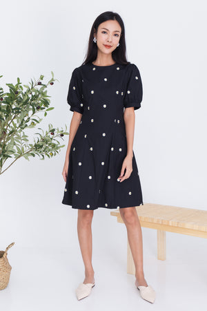 Stacey Daisies Embroidered Dress In Black
