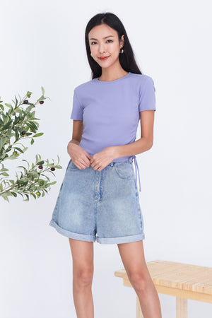 Yulia Drawstring Ribbed Top In Lilac