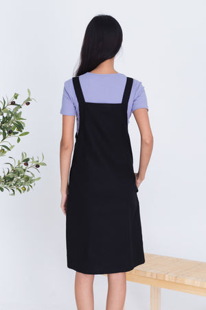 Lexie Dungaree Dress In Black
