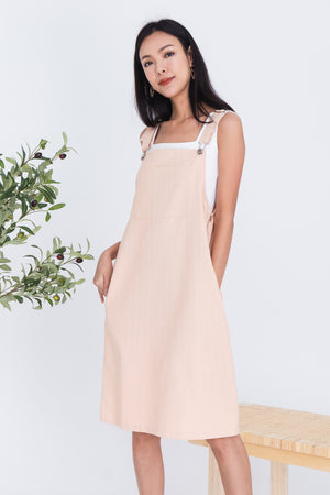 Lexie Dungaree Dress In Pink