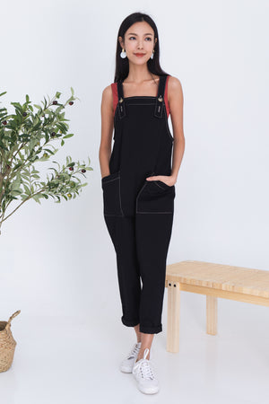Auston Contrast Stitch Dungaree In Black