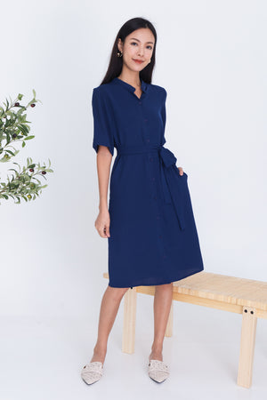Rebekah Button Shirt Dress In Navy
