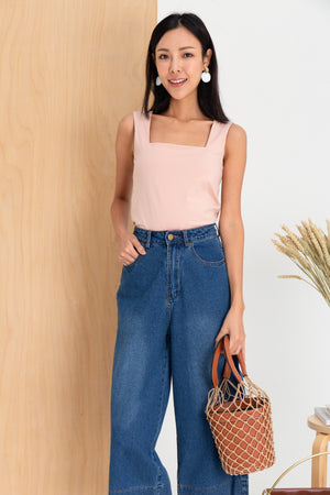Tessa Basic Square Neck Top In Pink