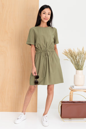*TSA Label* Elmma Drawstring Dress In Olive