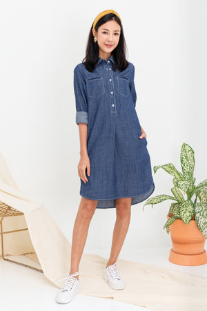 *TSA Label* Hina Denim Shirt Dress In Dark Wash