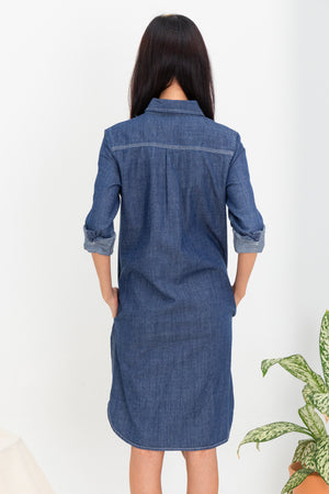 *RESTOCK* *TSA Label* Hina Denim Shirt Dress In Dark Wash