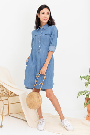 *TSA Label* Hina Denim Shirt Dress In Light Wash