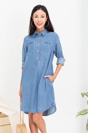 *BACKORDER* *TSA Label* Hina Denim Shirt Dress In Light Wash