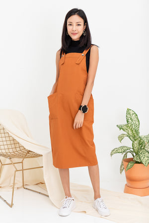 Brandi Dungaree Midi In Camel