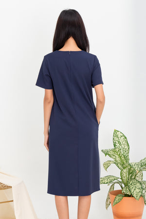 *TSA Label* Lorella Pleated Hem Midi Dress In Navy