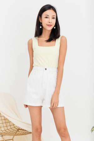 Tessa Basic Square Neck Top In Sunshine Yellow