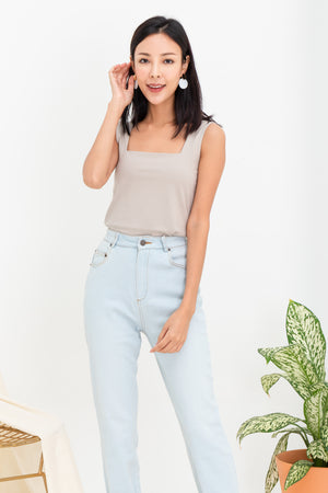 Tessa Basic Square Neck Top In Taupe