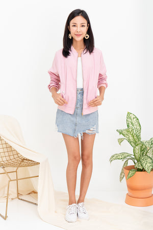 Woode Bomber Jacket In Pink