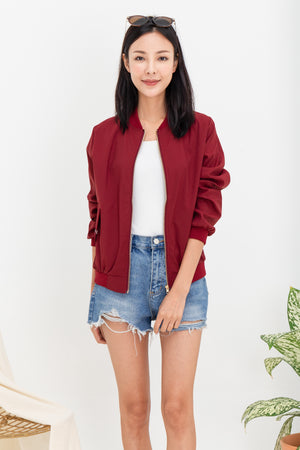 *RESTOCK* Woode Bomber Jacket In Wine