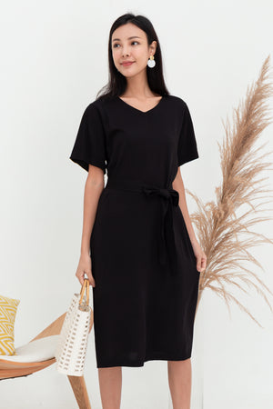 Zurie Tie Sash Knit Dress In Black