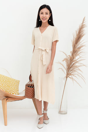 Raisie Button Knit Midi Dress In Cream