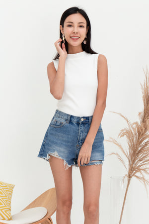 Yula Sleeveless Ribbed Top In White