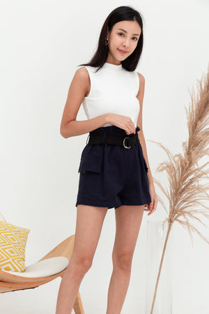 Raider Belted Utility Shorts In Navy