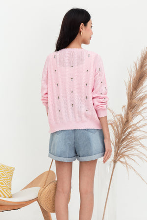 Biddy Flower Embroidered Cardigan In Pink