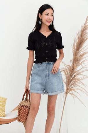 Quincy Ruffled Knit Top In Black
