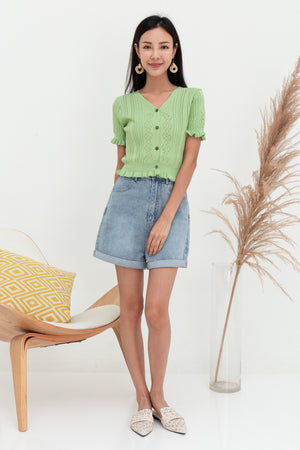 Quincy Ruffled Knit Top In Apple Green