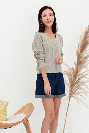 Biddy Flower Embroidered Cardigan In Grey