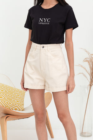 *RESTOCK* Billie Moms Denim Shorts In Ecru