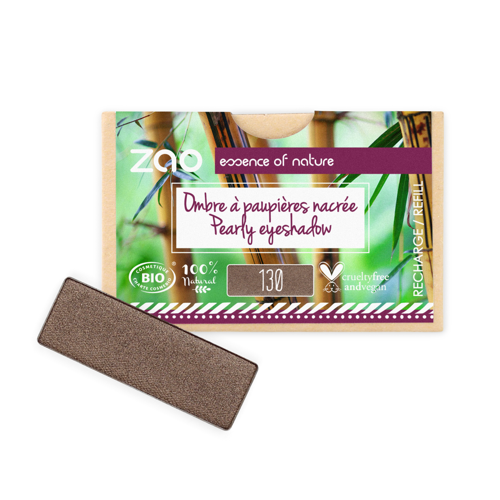 ZAO-Makeup-Rectangle-Eyeshadow-Refill-130-Intense-Brown