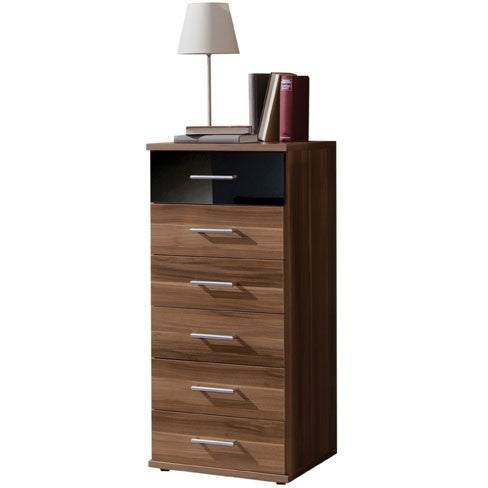 "Qmax ""Grande"" Drawer Chest Range. Walnut & High Gloss Black., [product_variation] - Freedom Homestore"