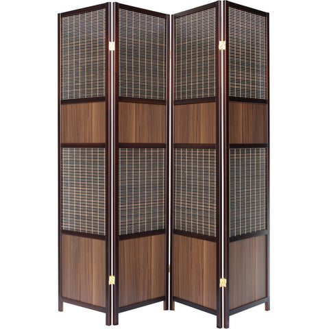LUXURY Wood Panel Folding Room Divider Privacy Screen. High Quality Heavy Weight, 1033884 - Walnut Panel