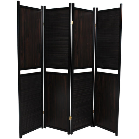 LUXURY Wood Panel Folding Room Divider Privacy Screen. High Quality Heavy Weight, 1037204 - Black Alternating