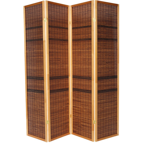 LUXURY Wood Panel Folding Room Divider Privacy Screen. High Quality Heavy Weight, 1037634 - Dark Cane Striped