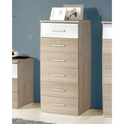 "Qmax ""Grande"" Drawer Chest Range. Washed Oak & High Gloss White., [product_variation] - Freedom Homestore"
