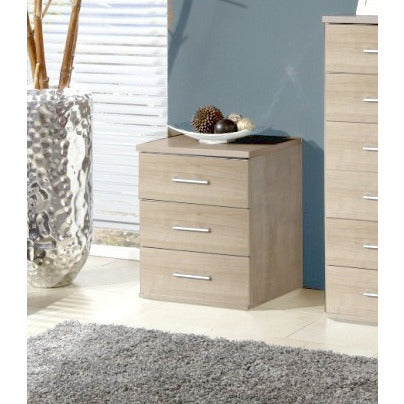 "Qmax ""Ambassador"" Drawer Chest Range. Washed Oak Finish., 3-Drawer Bedside"